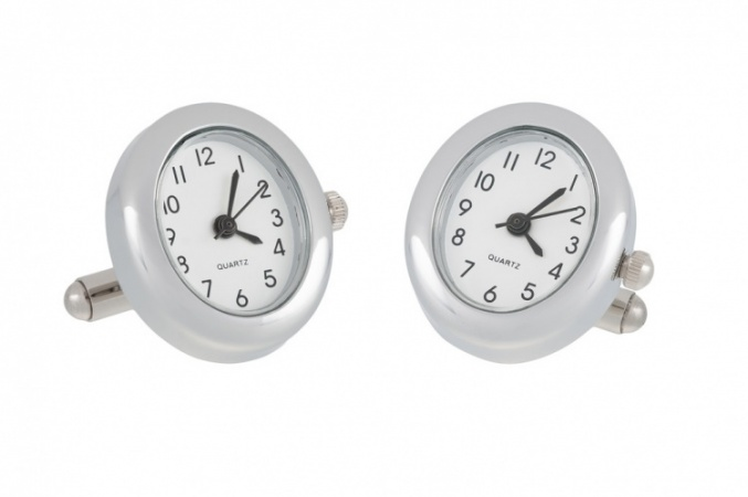 Oval Chrome Working Watch Cufflinks
